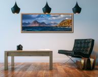 View over Loch Scavaig to the Cuillin mountains from Elgol - Oak floater frame with acrylic glazing on Wall