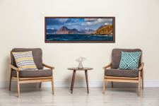 View over Loch Scavaig to the Cuillin mountains from Elgol - Walnut floater frame with acrylic glazing on Wall