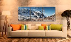 Glencoe in the Snow - 3 Panel Canvas on Wall