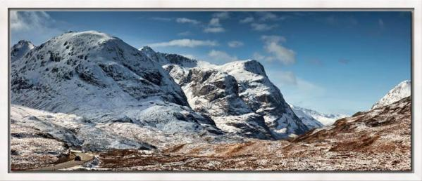 The Three Sisters of Glencoe under a blanket of snow
