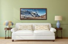 The Three Sisters of Glencoe under a blanket of snow - Walnut floater frame with acrylic glazing on Wall