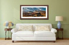 Snow on the Trotternish Mountains - Framed Print with Mount on Wall