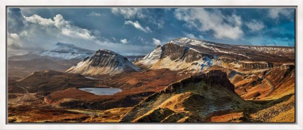 The snow covered Trotternish mountains on the Isle of Skye