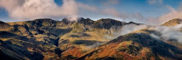 Crinkle Crags Panorama - UltraHD Print with Aluminium Backing