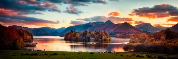 Derwent Water at Dusk - UltraHD Print with Aluminium Backing