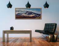 Late winter snow on the Trotternish Mountains on the Isle of Skye - Oak floater frame with acrylic glazing on Wall