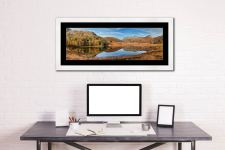 Blea Tarn Autumn Panorama - Framed Print with Mount on Wall