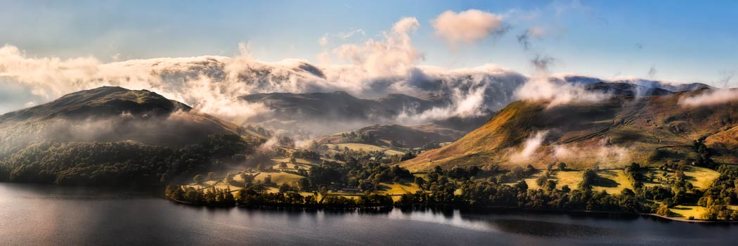Ullswater Clouds Panorama - UltraHD Print with Aluminium Backing