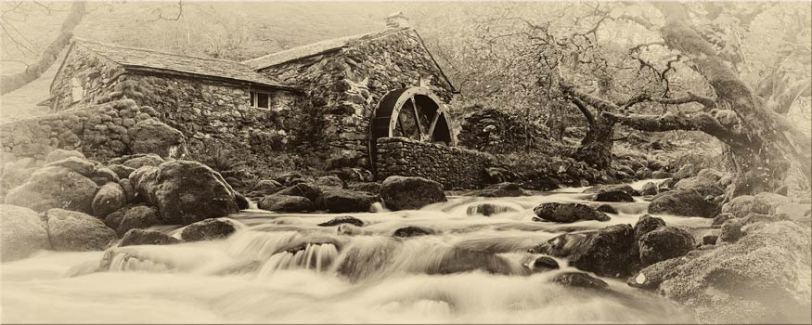 Borrowdale Mill Panorama - Black and White Toned Canvas