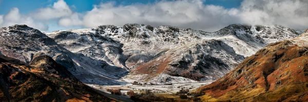 Snow on Crinkle Crags and Bow Fell - UltraHD Print with Aluminium Backing