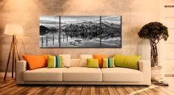 Derwent Water Panorama - Black and white 3 Panel Wide Mid Canvas on Wall