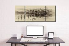 Derwent Water Panorama - Sepia 3 Panel Wide Mid Canvas on Wall