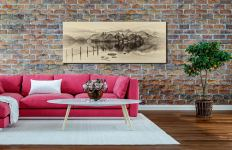 Derwent Water Panorama - Sepia Canvas Print on Wall
