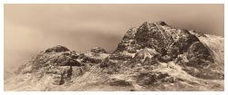 Snow on the Langdale Pikes - Bright Sepia Print
