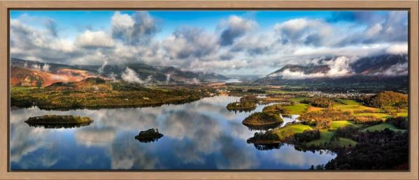 The morning mists rising over Derwent Water and Keswick