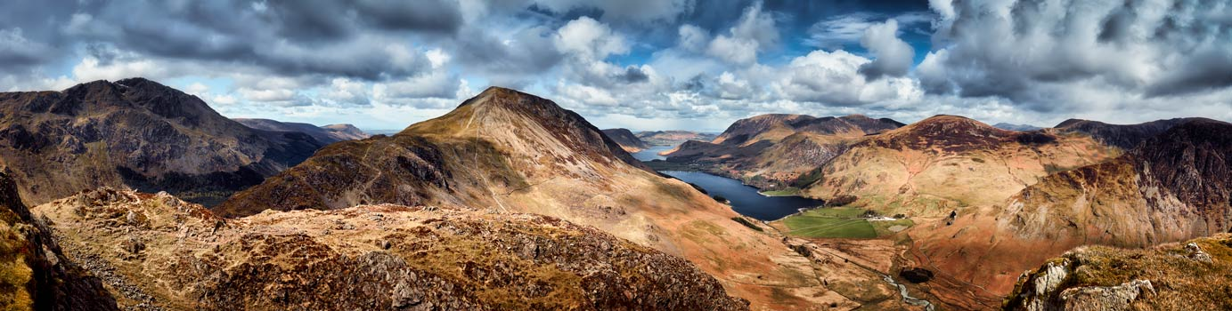 High Crag and Buttermere Panorama - UltraHD Print with Aluminium Backing