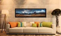 Rannoch Moor Winter Panorama - Black oak floater frame with acrylic glazing on Wall