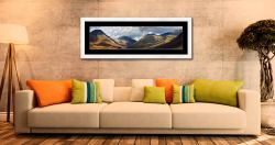 Sunlight on Wasdale Mountains - Framed Print with Mount on Wall
