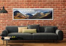 Sunlight on Wasdale Mountains - White Maple floater frame with acrylic glazing on Wall