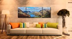 Buttermere Valley from Haystacks - 3 Panel Wide Mid Canvas on Wall