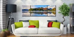 Derwent Water Serenity - 3 Panel Wide Mid Canvas on Wall