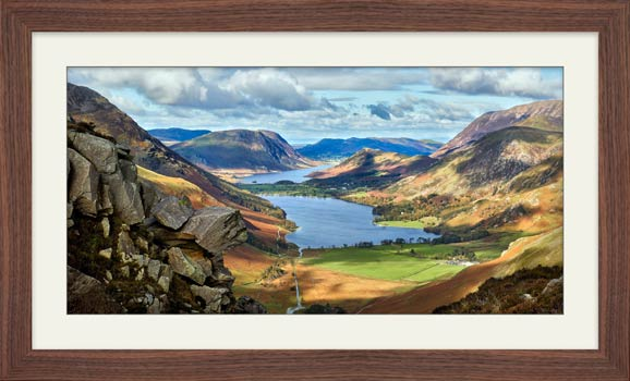Hanging Rock Buttermere Valley - Framed Print with Mount
