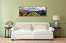 View down the Great Langdale Valley towards Windermere from Pike Howe - Oak floater frame with acrylic glazing on Wall