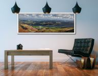 View over Coniston Village to Coniston Water - White Maple floater frame with acrylic glazing on Wall