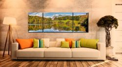 Loughrigg Tarn in Late Summer - 3 Panel Wide Mid Canvas on Wall