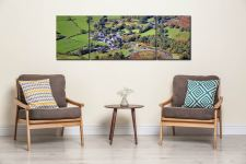 Buttermere Village - 3 Panel Wide Mid Canvas on Wall