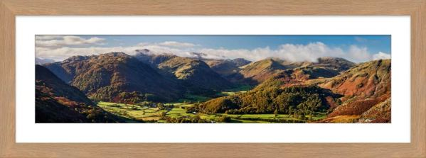 Beautiful Borrowdale Panorama - Framed Print with Mount