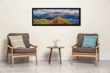 View over the summit of Cat Bells to Skiddaw - Black oak floater frame with acrylic glazing on Wall
