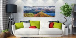 View over the summit of Cat Bells to Skiddaw - Print Aluminium Backing With Acrylic Glazing on Wall