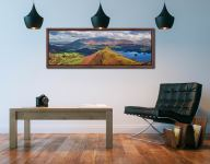 View over the summit of Cat Bells to Skiddaw - Walnut floater frame with acrylic glazing on Wall