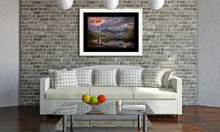 Buttermere Sunrise - Framed Print with Mount on Wall