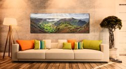 The Great Langdale Valley in the morning sunshine. View over Pike Howe - Print Aluminium Backing With Acrylic Glazing on Wall