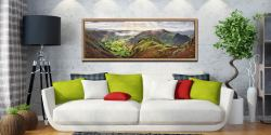 The Great Langdale Valley in the morning sunshine. View over Pike Howe - Oak floater frame with acrylic glazing on Wall