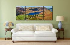 Contemplating Crummock Water - 3 Panel Wide Mid Canvas on Wall
