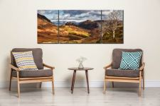Kings How and Castle Crag - 3 Panel Wide Mid Canvas on Wall