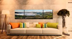 Misty Summer Morning Over Derwent Water - 3 Panel Wide Centre Canvas on Wall