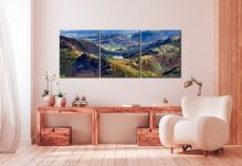 Blea Tarn from Langdale Pikes - 3 Panel Canvas on Wall