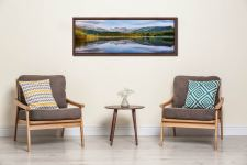 A perfectly calm summer's morning at Elterwater in Langdale - Walnut floater frame with acrylic glazing on Wall