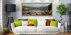 Elterwater Summer Reflections - Oak floater frame with acrylic glazing on Wall