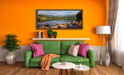 Elterwater Summer Reflections - Walnut floater frame with acrylic glazing on Wall