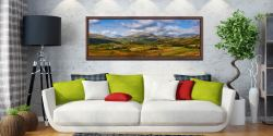 View of the Sca Fell Range over Eskdale from Birker Fell - Walnut floater frame with acrylic glazing on Wall