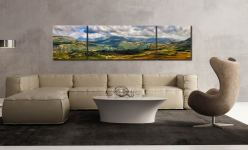 Sunlight on the Eskdale Fells - 3 Panel Wide Centre Canvas on Wall