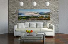 A cloud Inversion rising from Derwent Water revealing a sunlit Keswick - Print Aluminium Backing With Acrylic Glazing on Wall