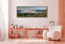 A cloud Inversion rising from Derwent Water revealing a sunlit Keswick - Oak floater frame with acrylic glazing on Wall
