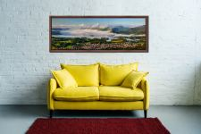 A cloud Inversion rising from Derwent Water revealing a sunlit Keswick - Walnut floater frame with acrylic glazing on Wall