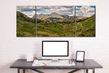 Langdale Pikes from Little Langdale - 3 Panel Wide Mid Canvas on Wall